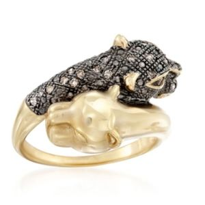 Ross-Simons Brown Diamond Panther Bypass Ring